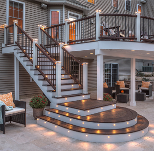 deck with lighted stairs
